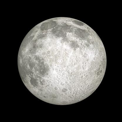 Full Moon closeup on black background