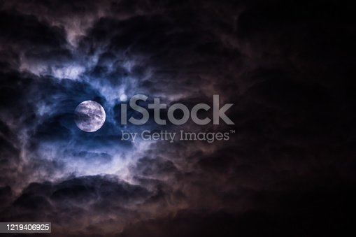 Full Moon Covered by Clouds at night