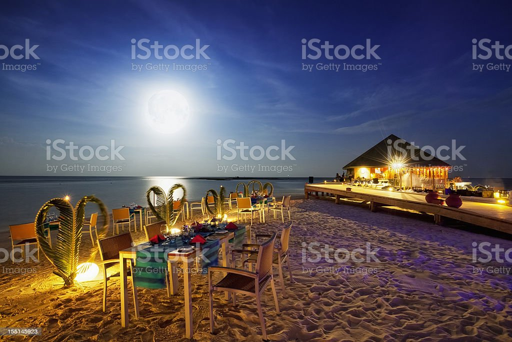 Full Moon Dinner - Vilamendhoo Island Resort Maldives stock photo