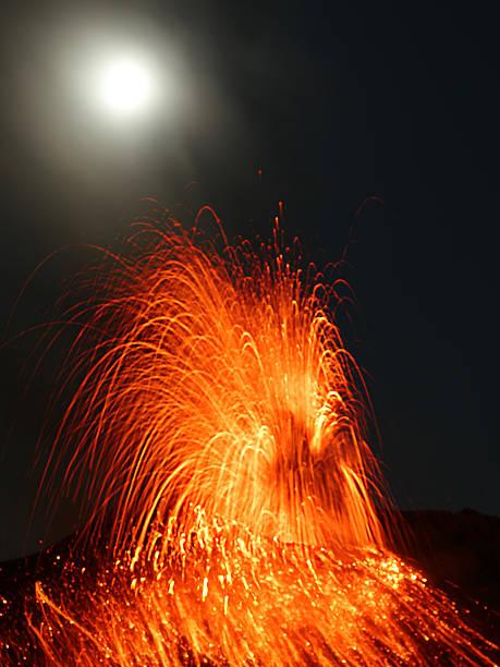 Full moon eruption stock photo