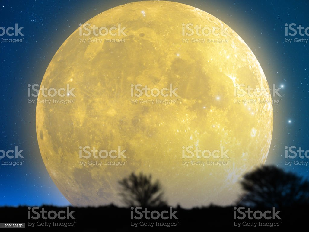 Full Moon from the mountain silhouettes landscape. My astronomy work. stock photo