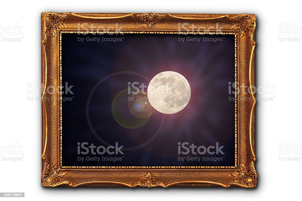 Full Moon Bild In Malerei Rahmen Stock-Fotografie und mehr Bilder ...