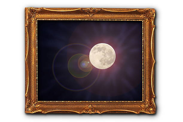 full moon image in painting frame - space and astronomy stock photos and pictures
