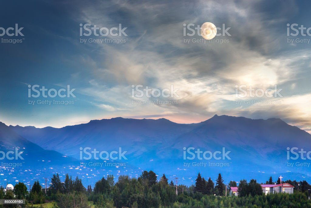 Full moon in Alaska. stock photo