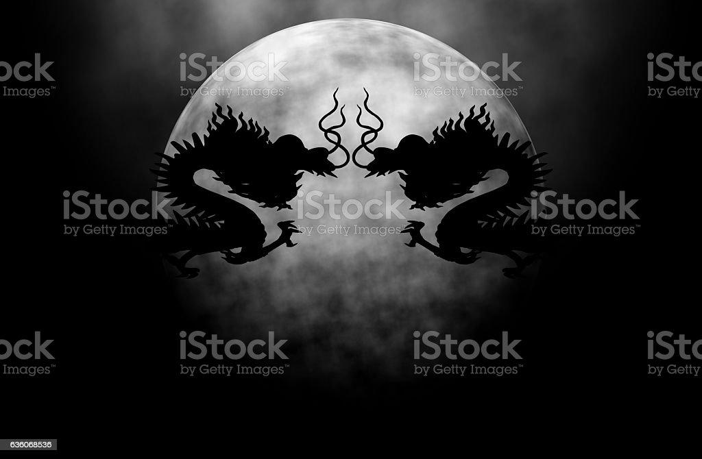 Full Moon Dragon: Full Moon In Dragon Night Stock Photo