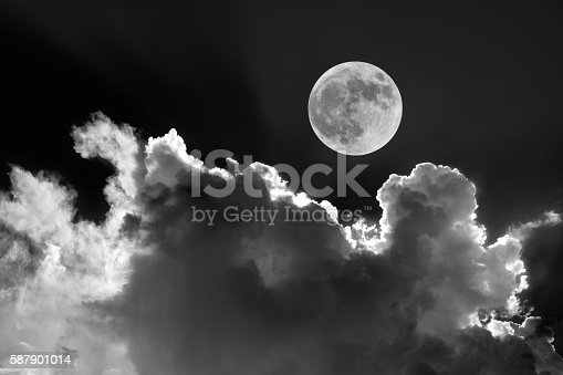 Full Moon In Night Sky With Dreamy Moonlit Clouds Stock