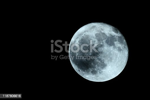 Full moon in the dark November night with clearly visible moon surface shot with a long telelens.