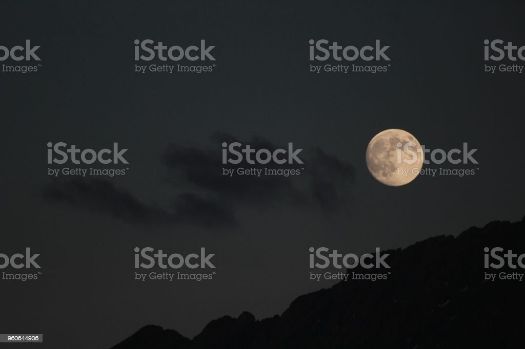 Full Moon In The Mountains stock photo