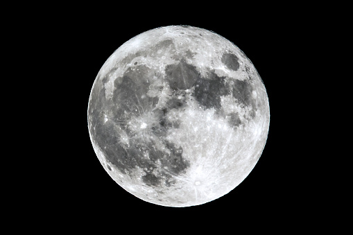 Full Moon Isolated On Black Stock Photo - Download Image Now