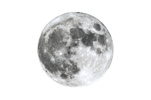 The full Moon is seen isolated on a white background. High contrast, high resolution image taken with a full frame dslr camera.