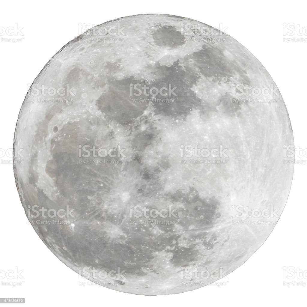 Full moon isolated over white background stock photo