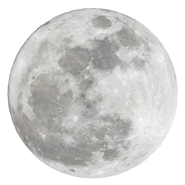 full moon isolated over white background - moon stockfoto's en -beelden
