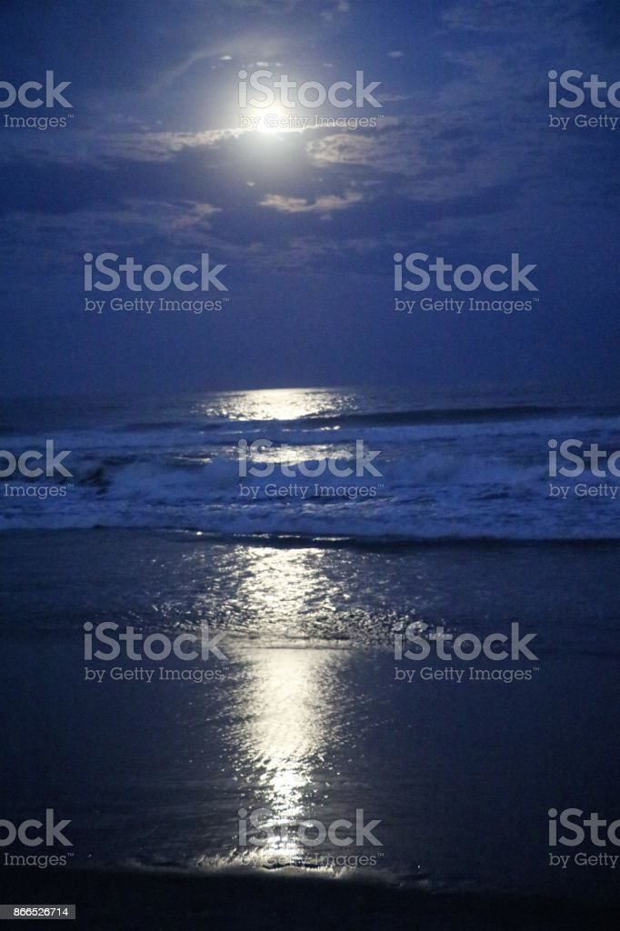Full moon light over the Pacific at Gold Coast, Australia