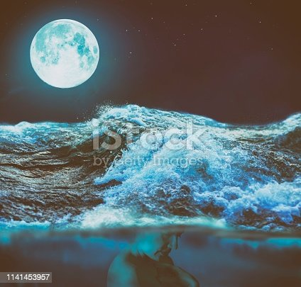Conceptual photo manipulation of woman under the turbulent waving water in the night of Full Moon, presents how Full Moon affect our mood and emotions.