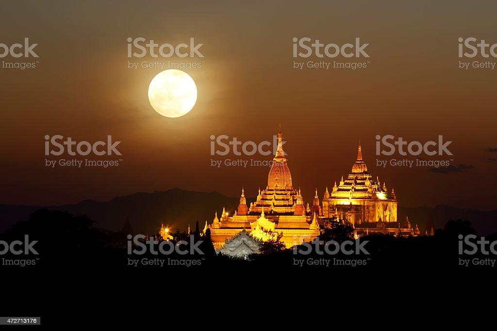 Full moon on the pagodas stock photo