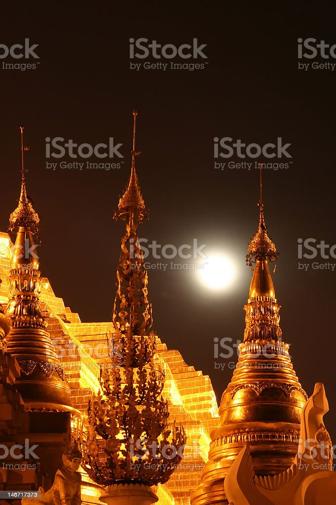 Full moon on the roofs of temples royalty-free stock photo
