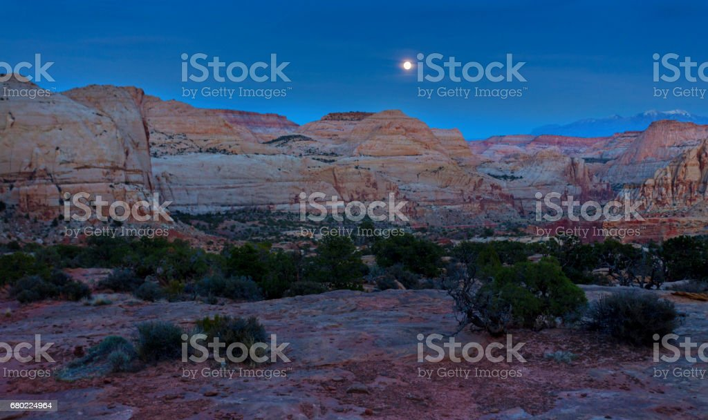 Full Moon over Capitol Reef National Park Utah United States stock photo