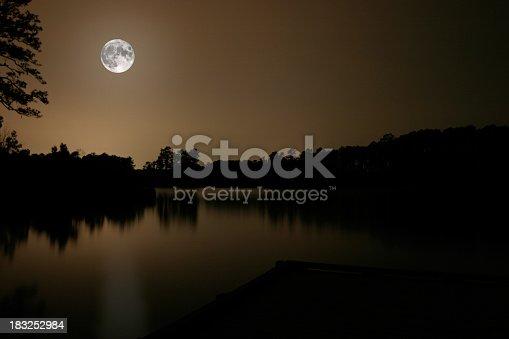Long exposure of a moonlit lake.