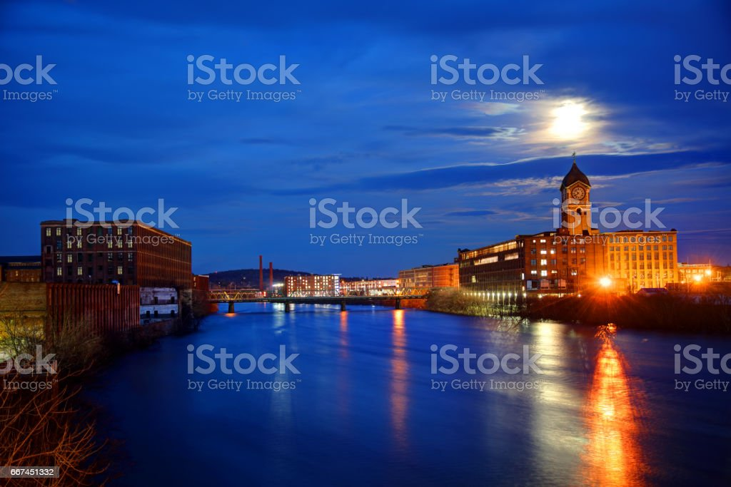 Full moon over Lawrence Massachusetts stock photo