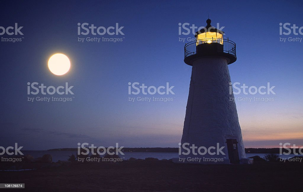 Full Moon over Lighthouse royalty-free stock photo