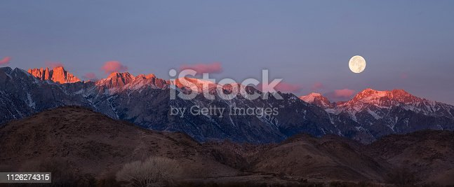 A panoramic of a snow covered Mt Whitney on a full moon sunrise. The pink hues of sunrise light the tops of the mountains as the full moon sets at daybreak.