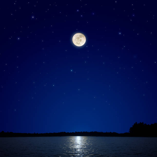 Full Moon Over New Hampshire stock photo