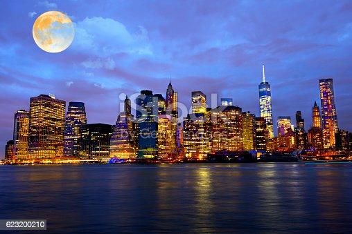 Full moon over New York City, USA