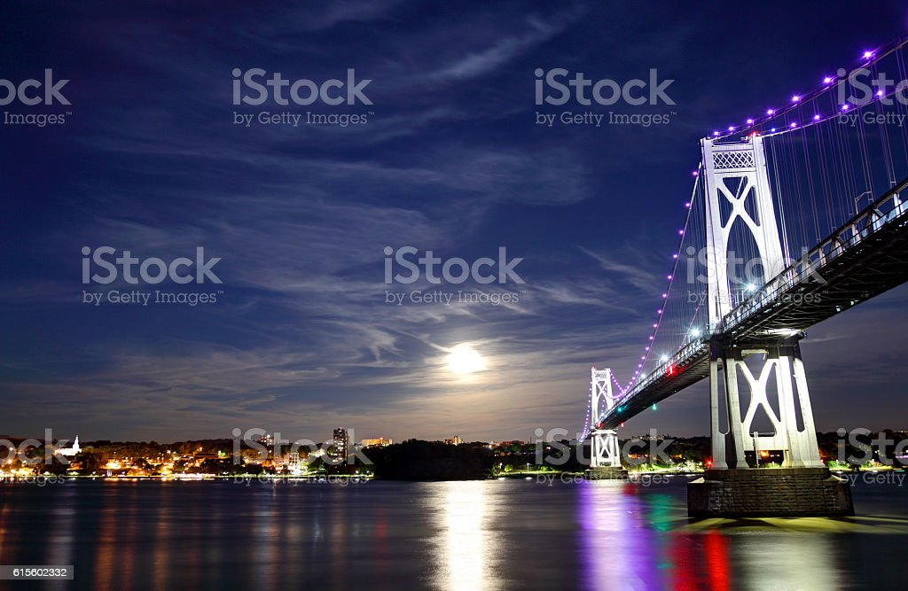 Full Moon over Poughkeepsie, New York stock photo