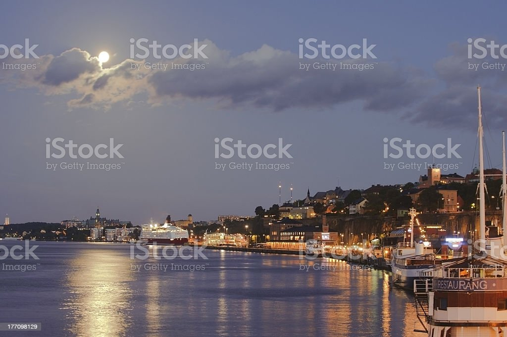 Full moon over Stockholm by night royalty-free stock photo