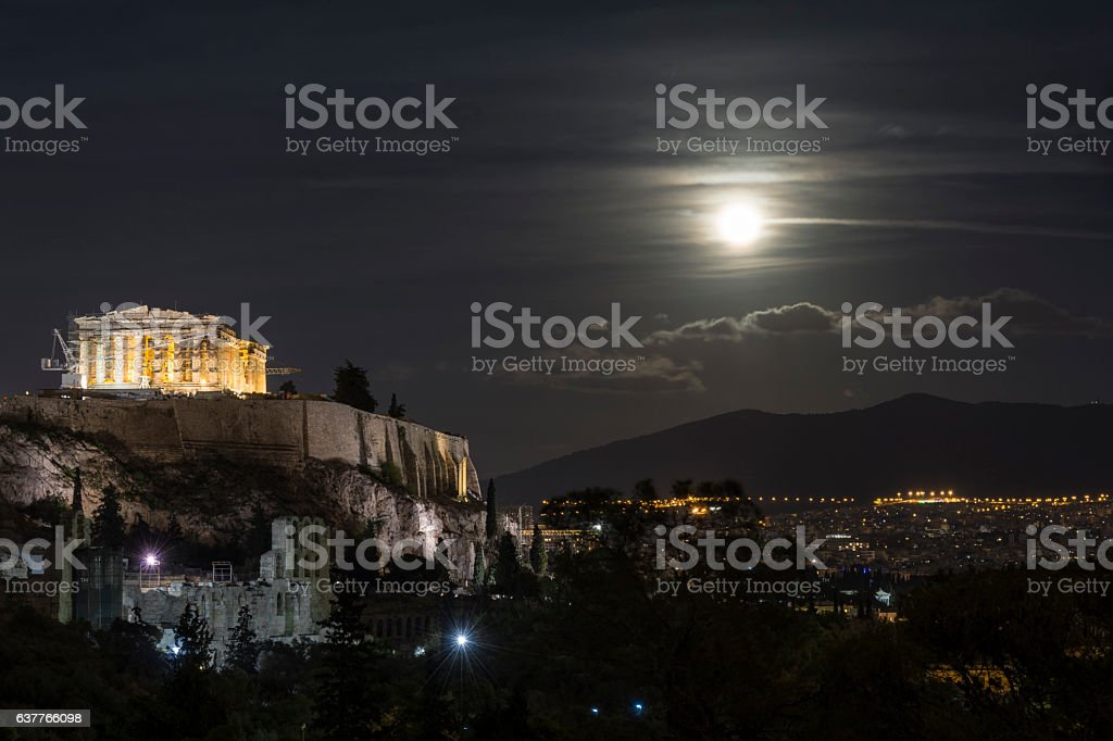 Full moon over the Acropolis of Athens stock photo