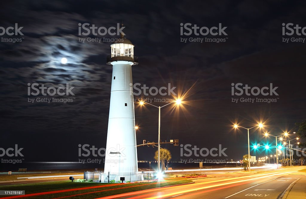Full Moon over the Biloxi Lighthouse stock photo