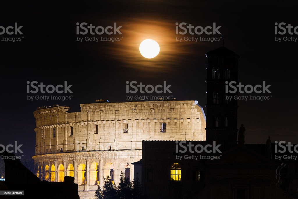 Full moon over the Coliseum royalty-free stock photo