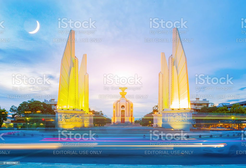 Full Moon over the Democracy Monument, Bangkok, Thailand stock photo