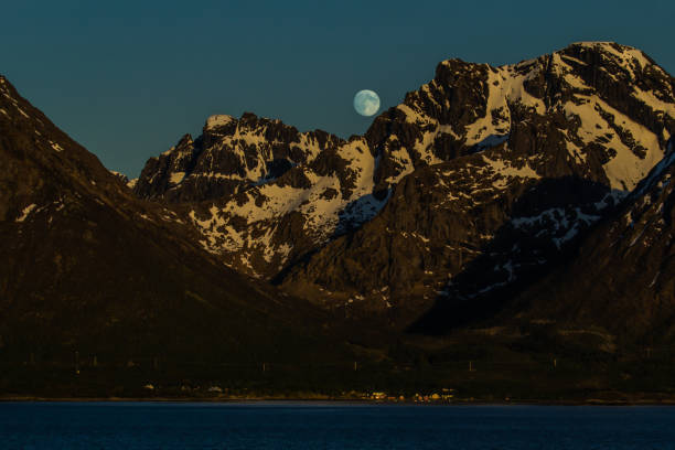 Full moon over the fjord, #6 stock photo