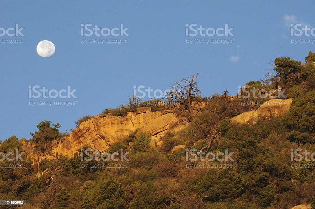 Full Moon over the Mesa Verde in Colorado royalty-free stock photo