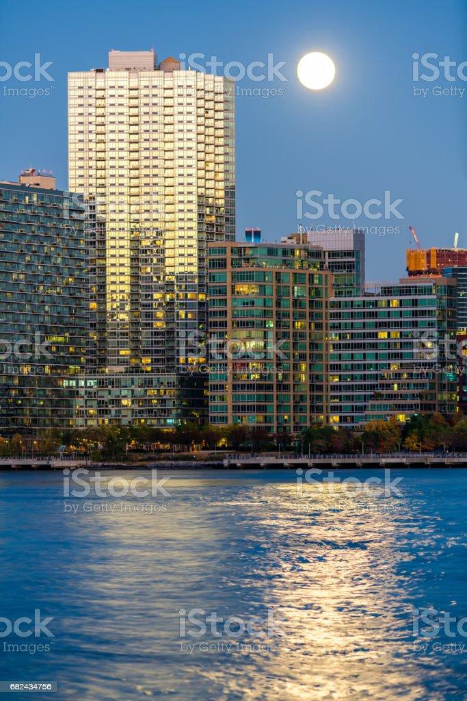Full moon over the New York City stock photo