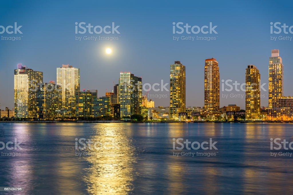 Full moon over the New York City royalty-free stock photo