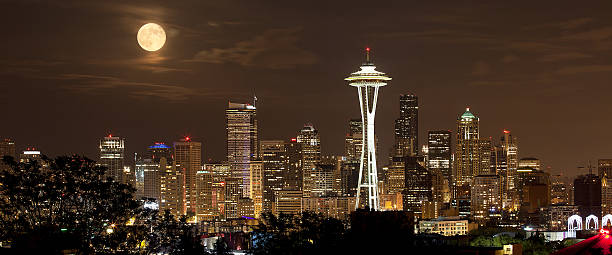 Full Moon Over the Seattle Skyline stock photo