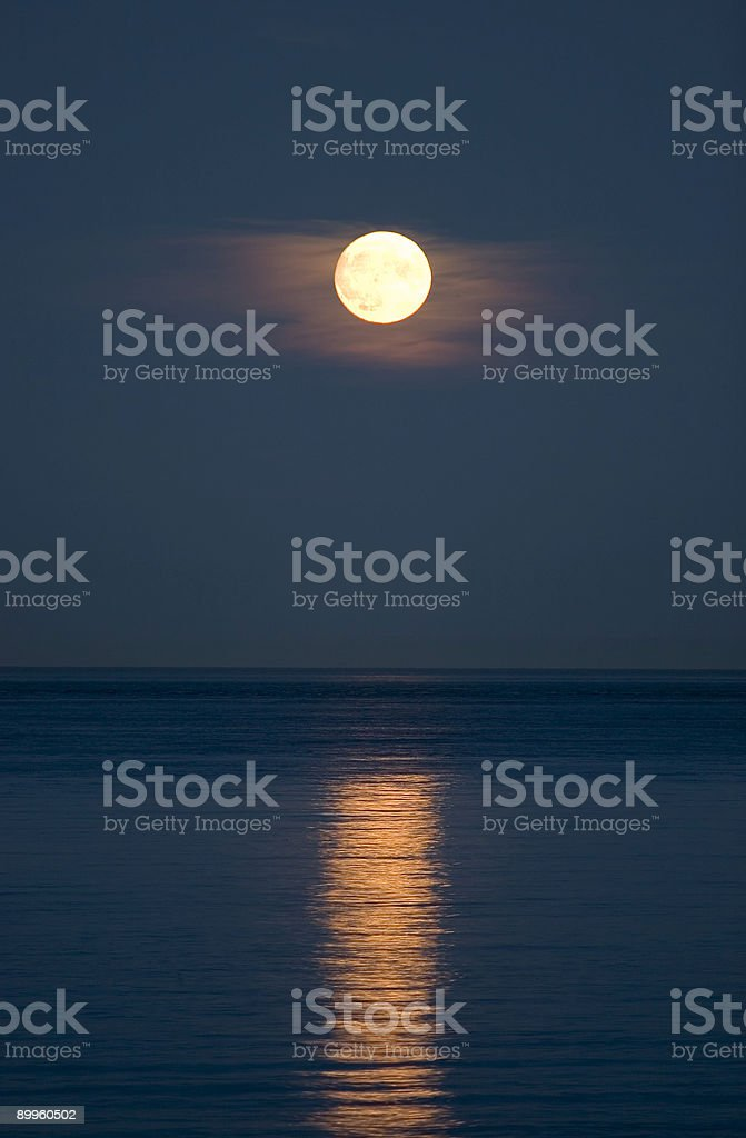 Full moon over the water royalty-free stock photo