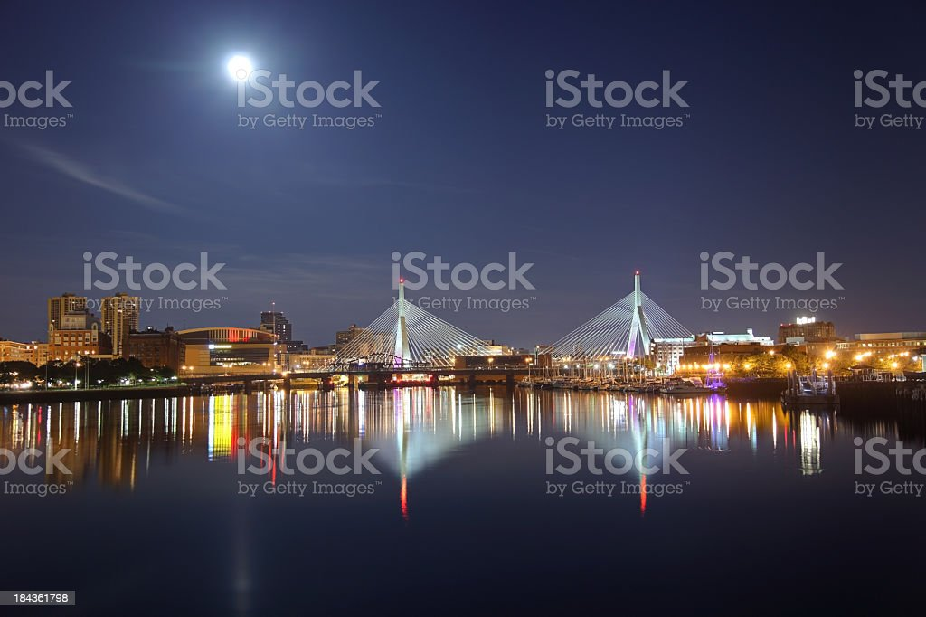 Full moon over the Zakim Bridge in Boston, Massachusetts stock photo