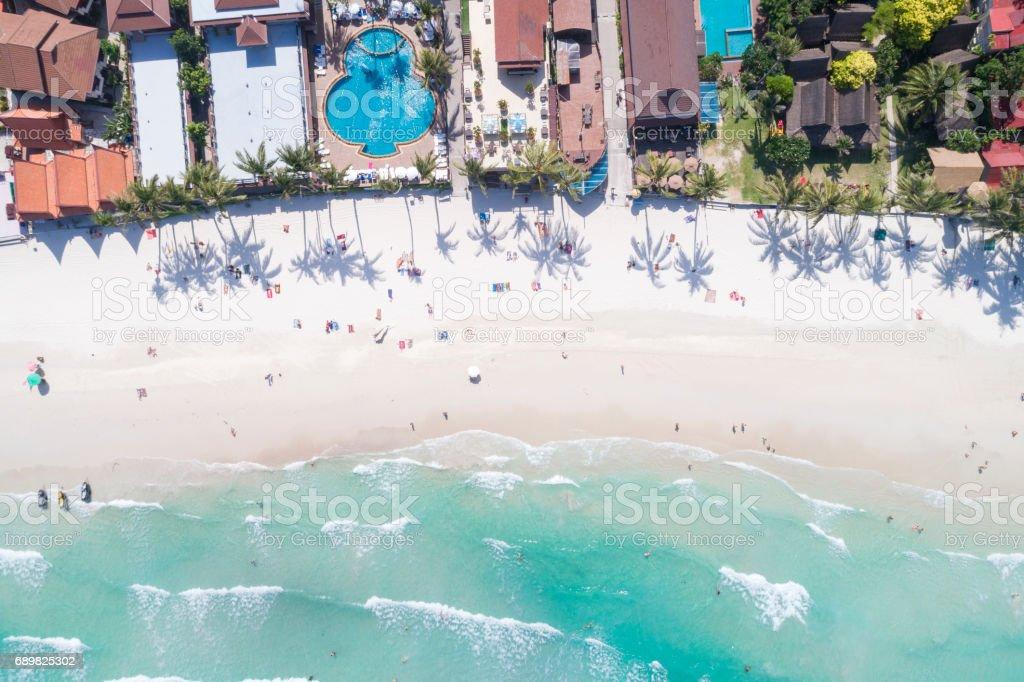 Full Moon Party Beach Haad Rin, Thailand - Bird's-Eye View stock photo
