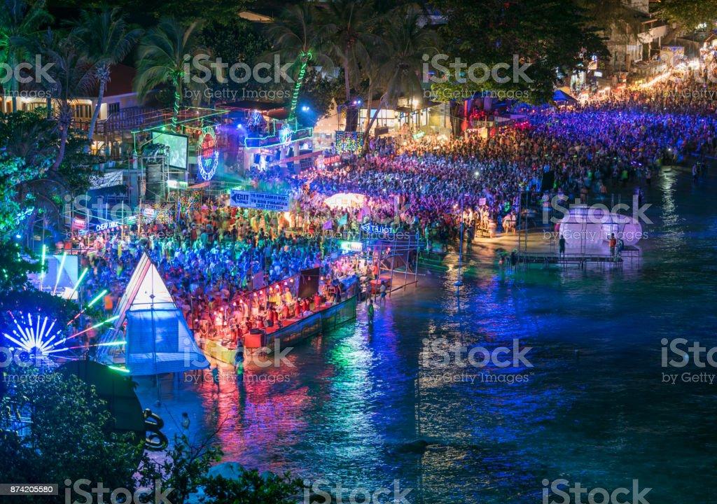 Full Moon Party, Haad Rin Beach, Koh Phangan, Thailand stock photo