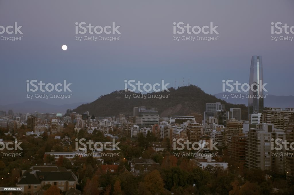 Full Moon rising at mount Andes in Santiago, Chile ロイヤリティフリーストックフォト