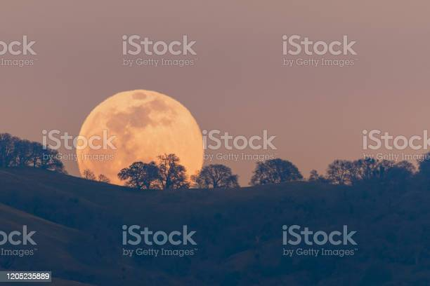 Photo of Full moon rising from behind a hill in the Diablo Mountain Range, in South San Francisco Bay Area, San Jose, California; visible distortion due to heat and pollution