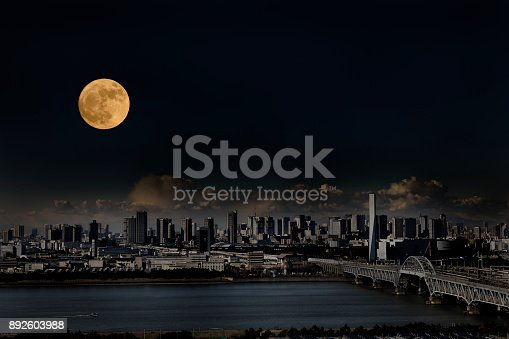 Full moon rising over Tokyo urban skyline with copy space.
