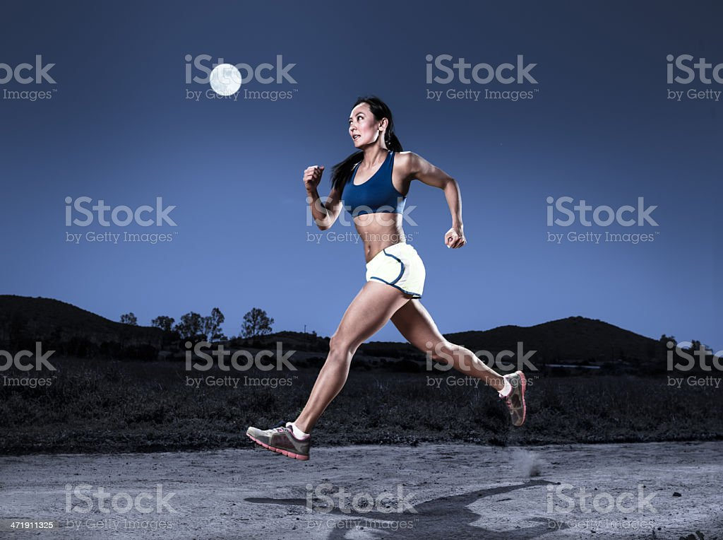 Full Moon Runner stock photo