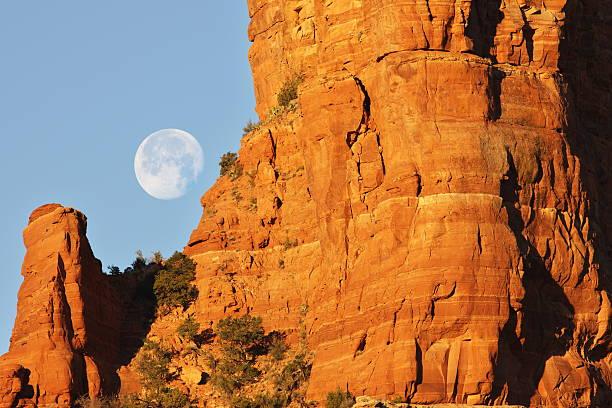 Full Moon Sunrise Desert Butte
