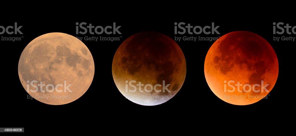 Full Moon to Full Lunar Eclipse - September 2015 stock photo