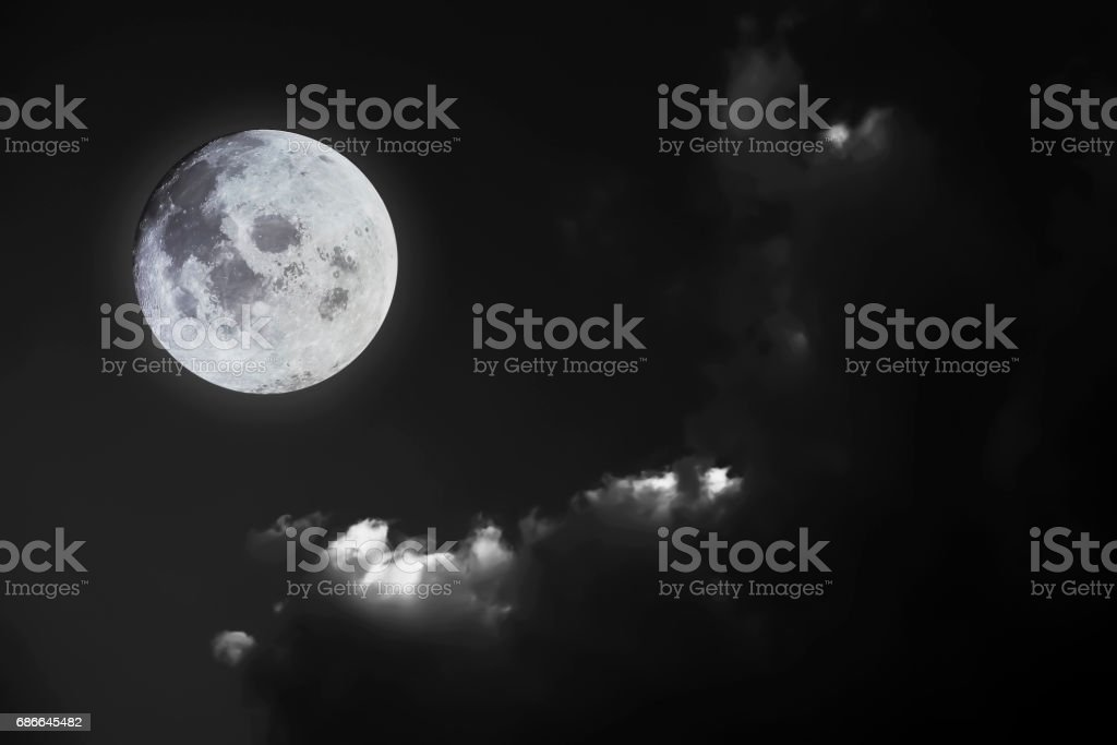 Full moon with  Black and White  sky background.Element of Full moon image furnished by NASA. royalty-free stock photo