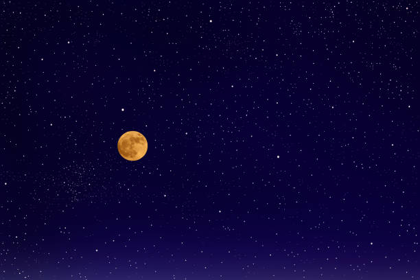 full moon with lots of shiny stars - moon stock photos and pictures